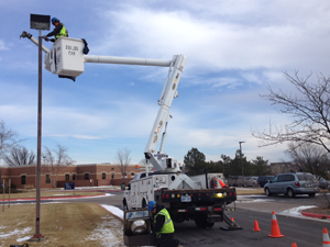 Outdoor Lighting Maintenance Bucket Truck