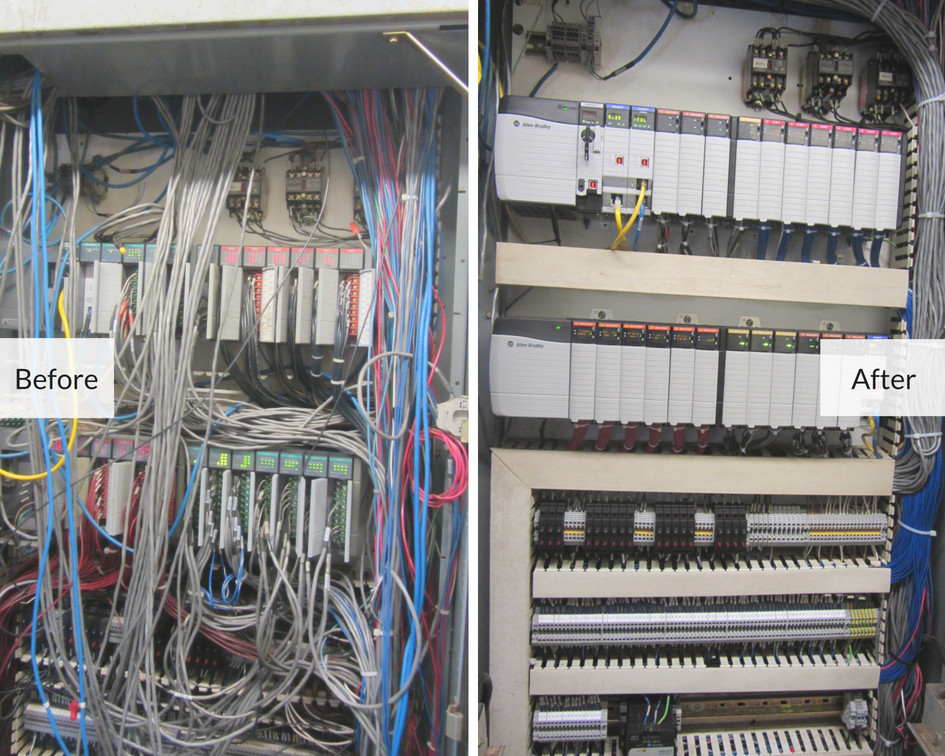 before and after photo of a rendering plant's industrial automation controls